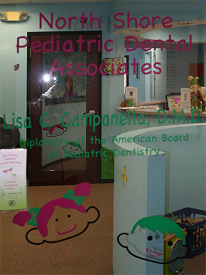 Office door for North Shore Pediatric Dental and Orthodontics